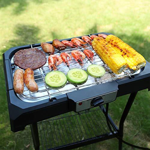 Aigostar Lava Pro - Griglia senza fumo, griglia per barbecue elettrica con piedini e tavolo da esterno. Antiaderente con vassoio rimovibile, lavabile in lavastoviglie
