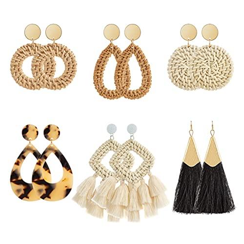 Ponpon 6 Pairs Rattan Earrings for Women, Lightweight Summer Earrings Straw Earrings Fashion Geometric Statement Hoop Dangle Drop Earrings for Women