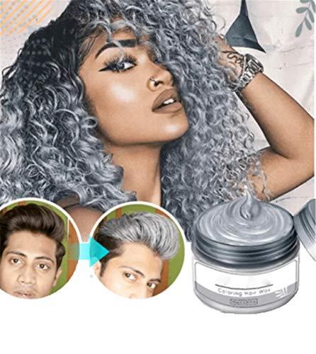 Silberblond Färbung Haarwachs 4,23 Unzen, Atemberaubende Silber Instant Colors Haar, Silbergrau Farbe Haarwachs Männer Frauen Färben Grau zum Färben und Styling, 120 G.