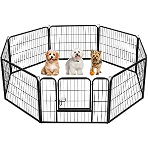 YAHEETECH 8 Panel 24-inch Dog Pen Playpen – Heavy Duty Metal Pet Dog Puppy Exercise Fence Fencing Barrier Kennel w/Gate Outdoor Indoor Black