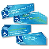 Decooo.be Autocollants Handicapé - Pack de 4 Versions différentes - Lot de 20...