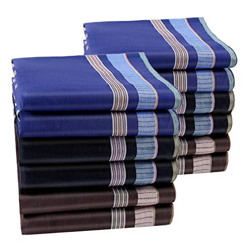 HOULIFE Pañuelos para hombre de algodón puro, 43 x 43 cm, 3 colores, para uso diario, 6/12 unidades Gemischt 2-12 Stück Large