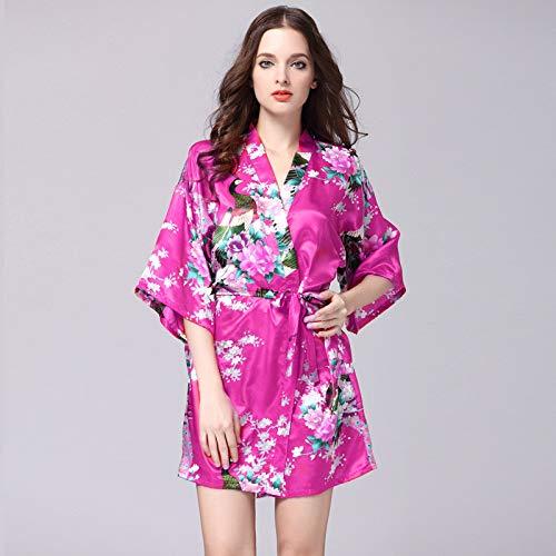 Handaxian Frauen Nachahmung Seide Roben Satin Brautkleid Robe große Blumen Bademantel Kurze Pyjamas 2 L
