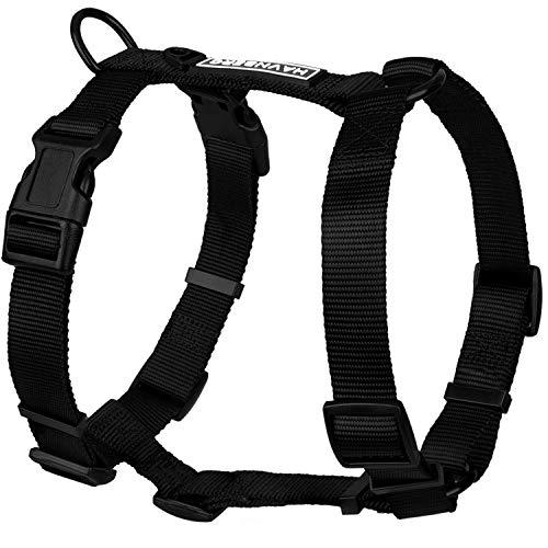 HAVNBERG All Black Hundegeschirr in schwarz größenverstellbar H-Geschirr Brustgeschirr (S)