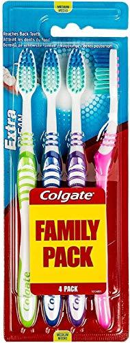 COLGATE - Brosse à Dents Extra Clean Medium - Favorise une Bonne Santé Bucco-Dentaire - Nettoie en Profondeur - Atteint les dents du fond - Lot de 4 Brosses à Dents