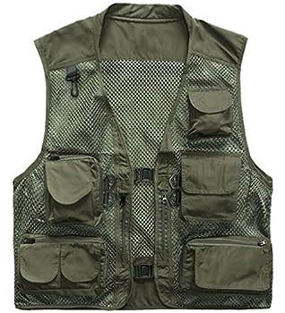 Herebuy8 Men s Mesh Fishing Vest Multi Pockets Photography Outdoor Jacket  Green XL-US