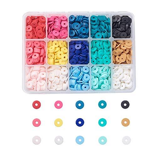 Cheriswelry 2000 cuentas planas redondas de arcilla polimérica de 15 colores de disco de vinilo Heishi arcilla espaciadora de cuentas sueltas para hacer pulseras de joyería de verano