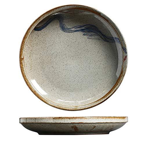YLMF Plato de cena retro de cerámica de estilo japonés profundo redondo pintado a mano plato de sopa para el hogar vajilla microondas horno seguro 9.5 pulgadas