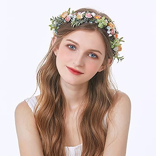 Corona de Flores Mujer, Diadema De Flores, Simulación de Boda de Color Rosa Flor Niña Decoración Diadema Guirnalda Flor Diadema con Cinta para Fiesta y Boda