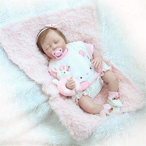 ZHANGYY Reborn Dolls 22 Zoll Neugeborene schlafende Mädchenpuppen Neugeborene pflegende Puppen Lebensechter weicher Körper, Silikon lachende Puppe