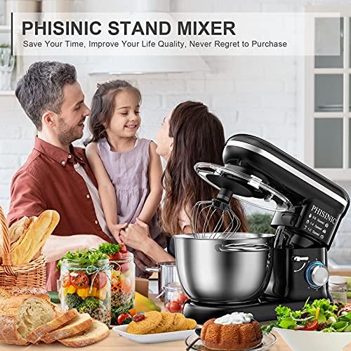 PHISINIC Küchenmaschine Knetmaschine 1500W Teigmaschine Rührmaschine mit 5,5 L Edelstahl Schüssel Geräuscharme Teigknetmaschine inkl 3-Teiligem Patisserie-Set und Spritzschutz-Schwarz - 7