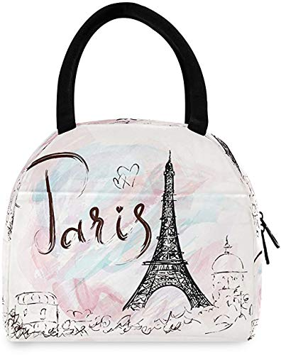 Kcldeci Paris Eiffel Tower Insulated Lunch Bag Box Romantic France HeartLunch Tote Bags Reusable Thermal Cooler Bag Handbags Meal Prep Snacks Organizer for Office School Work Picnic