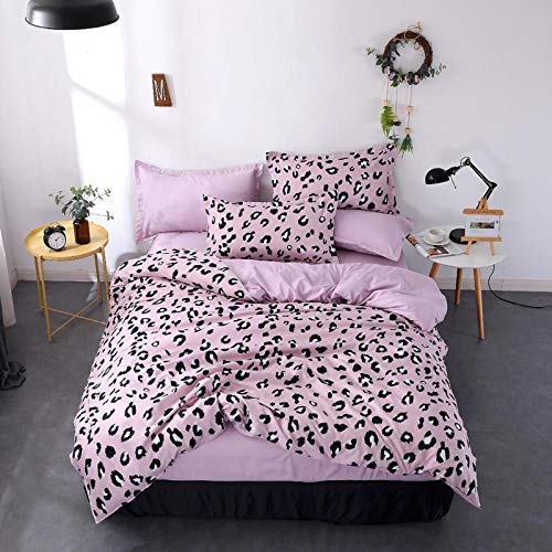 Raaooaceo Bedding Sets for Children Cartoon Pink leopard spots 3 Piece Bedding Sets for Teenagers 3D Bedding Kids Cartoon Anime Bedding Sets (Super King size 260 x 230 cm) -Simple bedding with duvet