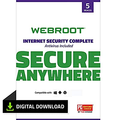Webroot Internet Security Complete with Antivirus Protection Software 5 Device 1 Month Subscription PC Download