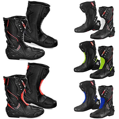 Motorfiets Laarzen Mens - Motorfiets Gepantserde Lederen Boot Touring Racing Sportschoenen voor Alle Weer met Anti Skid Rubberen Zool | Volledig Zwart, Rood, Groen, Blauw, Wit 14 UK Zwart