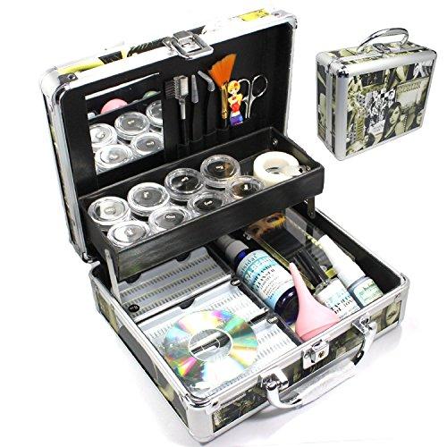 Baisidai Professional 23 in 1 Single Eyelash Individual Eyelashes Extension False Black Eye Lash Graft Lashes Full Kit Set with Fashion Hard Case Suitcase (C) A150
