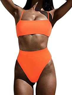 MOSHENGQI Women High Wasited Bikini Shoulder Strap 2 Piece High Cut String Swimsuits