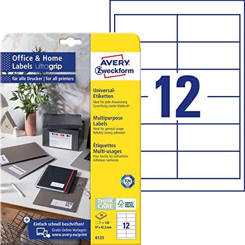 AVERY Zweckform 6123 Adressaufkleber (12 Klebeetiketten, 97x42,3 mm auf A4, bedruckbare Absenderetiketten, selbstklebende Adressetiketten mit ultragrip, ideal fürs HomeOffice) 10 Blatt, weiß