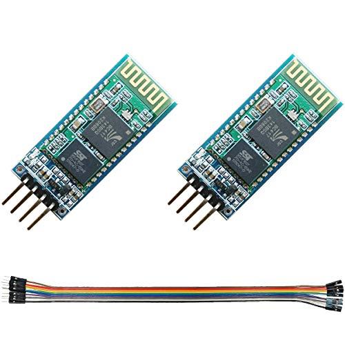 Youmile 2Pcs HC-06 Modulo Bluetooth HC-06 Modulo RF ricetrasmettitore seriale wireless 4Pin Baseboard Modalità slave canale seriale bidirezionale per Arduino con cavo Dupont