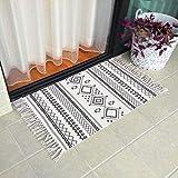 Ukeler Cotton Boho Kitchen Rugs Decorative Black and White Bohemian Kilim Rug Hand Woven Floor Rugs for Doorway, Bathroom, Bedroom, 23.6' x 51.2'