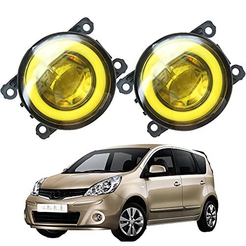 YSSMAO Cawanerl para Nissan Note E11 MPV 2006-2013 Coche Styling 3000lm LED Niebla Luz Angel Eye DRL Lámpara de Funcionamiento DICIAL 30W 12V 2 Piezas,White Lens