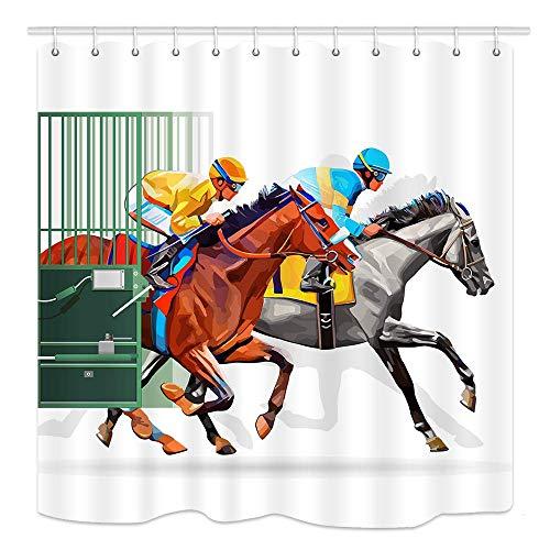 JOOCAR Design Duschvorhang, Pferd, Bauernhof, Wettbewerbs-Szene mit drei Rennpferden, wasserdichter Stoff, Badezimmer-Dekor-Set mit Haken