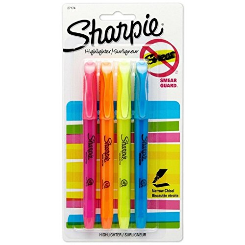 Sharpie 27174/27174PP Pocket Style Highlighters, Chisel Tip, Assorted Colors, 4 Count