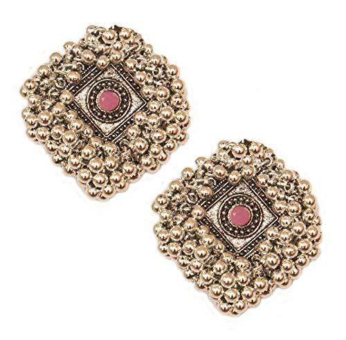 Pahal - Pendientes de perlas de color rosa claro oxidadas con diseño étnico de Jhumka de plata grande de Bollywood del sur de la India para fiestas