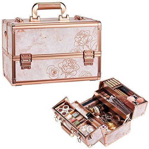 Caja de maquillaje de oro rosa para cosméticos – 13.5 pulgadas grande portátil con cerradura organizador de maquillaje para mujer