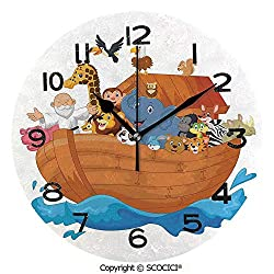 SCOCICI 10 Inch Round Face Silent Wall Clock Noahs Ark Cartoon Style Mammals Smiling Transport in Only Ship Artwork Print Unique Contemporary Home and Office Decor