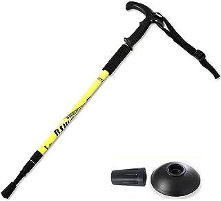 Hopfällbar vandring Pole-Non-Slip Walking Stick-Trekking Cane Telescopic Straight Handle T Handle Crutch-67-135CM,Yellow,3...