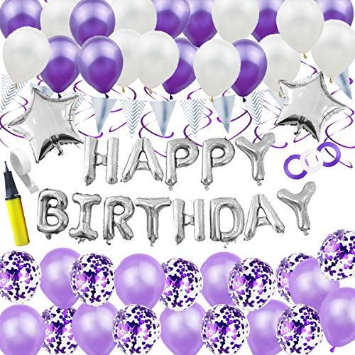 Sitengle 誕生日 飾り付け セット 風船 大容量 特大 Happy Birthdayバルーン スター 風船4色40個 パーティー バースデー装飾 両面テープ ハンドポンプ付き (紫)