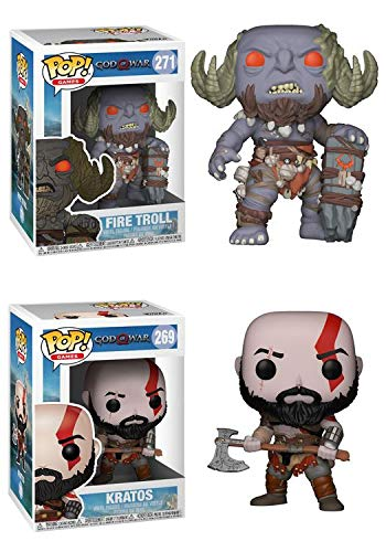 FunkoPOP God of War Playstation 4: Fire Troll + Kratos – Stylized Video Game Vinyl Figure Bundle Set