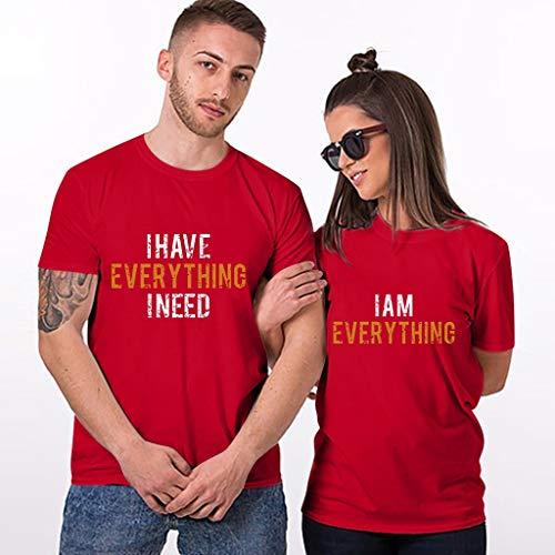 Valentinstag Gifts für Pärchen Seine & Ihr Shirts Paar I AM Everything & I Have Everything I Need Letter for Couple