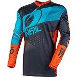 O'NEAL | Camisa de Manga Larga de Mountainbike | MTB DH FR | Material Transpirable, protección Acolchada para los Codos | Element Youth Jersey Factor | Niños | Gris Naranja Azul | Talla L