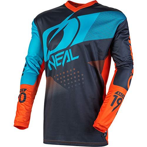 O'NEAL | Mountainbike Langarm-Shirt | Kinder | MTB DH FR Downhill Freeride | Atmungsaktives Material, Gepolsterter Ellbogenschutz | Element Youth Jersey Factor | Grau Orange Blau | Größe L
