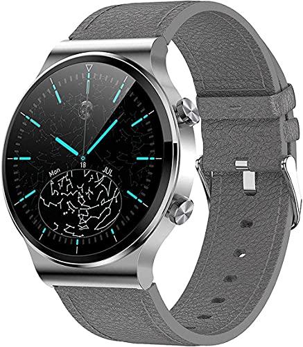 YLB Smartwatch Health and Fitness Tracker IP67 impermeable, con llamadas Bluetooth, adecuado para mujeres y hombres, Android iOS (color gris)