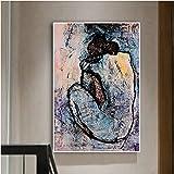 CAPTIVATE HEART Impresión en Lienzo 50x70cm sin Marco Cuadro clásico de Pablo Picasso, Pintura Desnuda Azul, Cuadro artístico de Pared para Mujer, para Sala de Estar, decoración del hogar