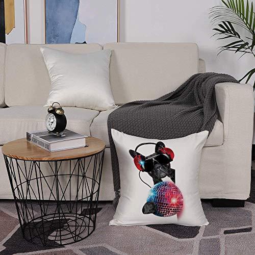 Microfiber cushion cover 50x50 cm,Music Decor,DJ Bulldog Listening to Music with a Fancy Disco Ball Puppy ,Sofa Waist Chair Home Office Bar Car Decor Decorative Throw Pillowcase Protectors With Zipper