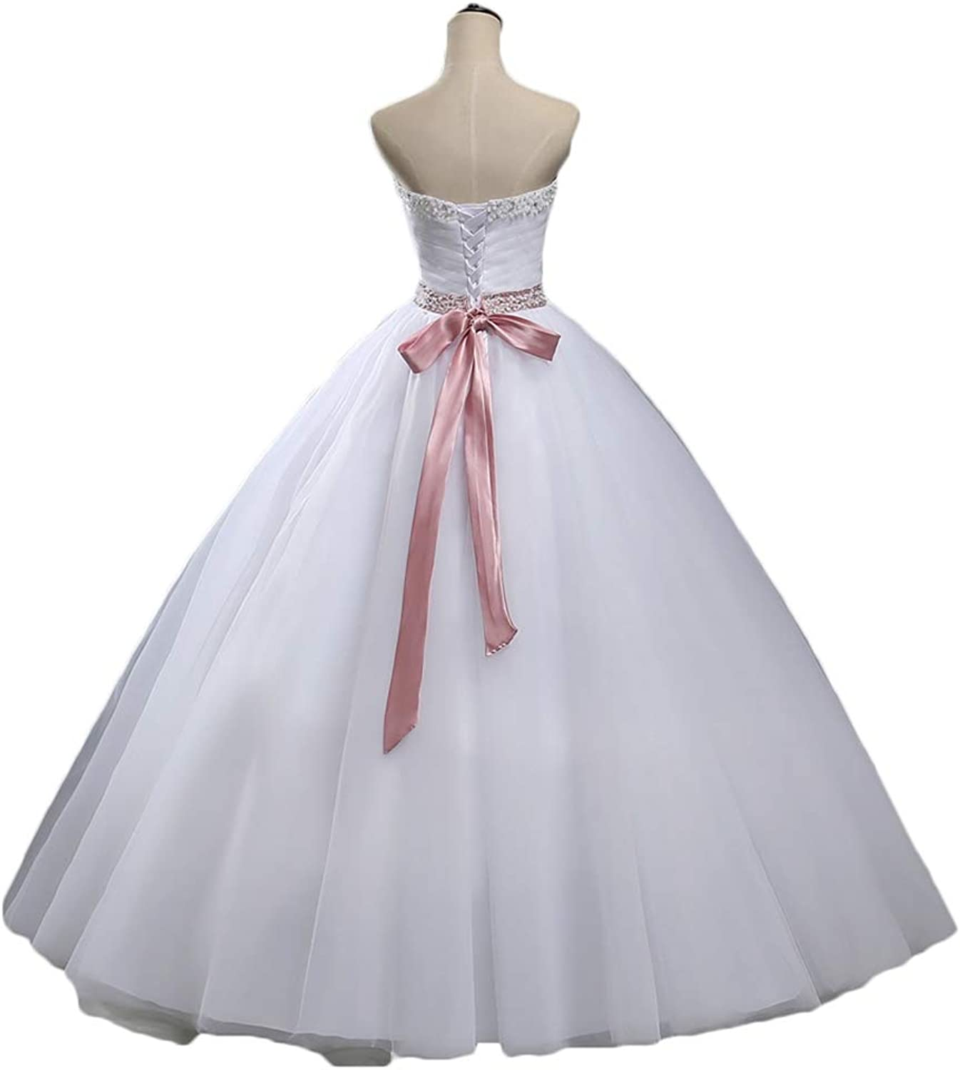 WAWALI Wedding Dress for Bride Organza Bridal Prom Ball Gowns with Pink Belt