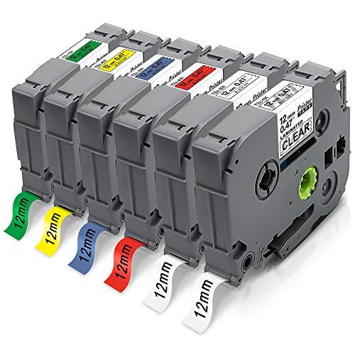 Pristar 12mm Kompatible für Brother TZe-131 TZe-231 TZe-431 TZe-531 TZe-631 TZe-731 Tz Schriftband für Brother PT PT-H107B P710BT H100LB E110 H100R D210 H200 H110 D400 1000 1250 H101C D200 D600VP