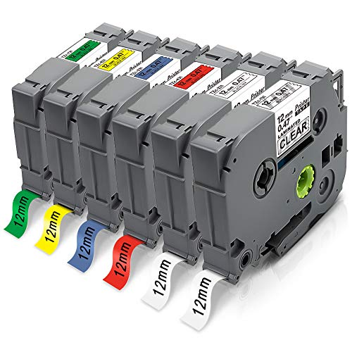 6x Pristar 12mm x 8m Compatibile Nastri per Etichette per Brother TZe-131 TZe-231 TZe-431 TZe-531 TZe-631 TZe-731 TZ Nastro per Brother P-Touch PT-H107B H110 D210 H200 H500 P710BT E100 1000 300BT