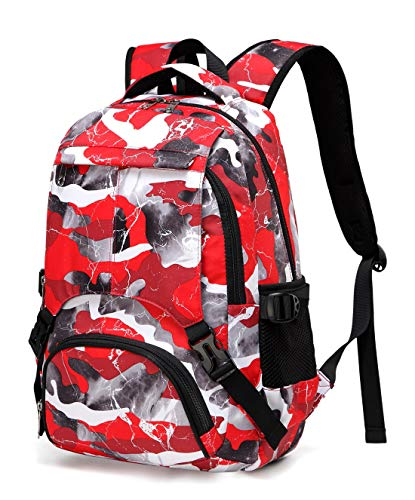 BLUEFAIRY Kids Backpacks for Boys Girls Camouflage Elementary School Bags Bookbags Lightweight Durable (Red Camo)