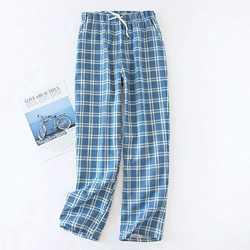Schlafanzug Herren Baumwollgaze Hose Plaid Gestrickte Schlafhose Herren Pyjama Hose Hose Nachtwäsche Pyjama Short Für Herren Pyjama M Bluetrousers