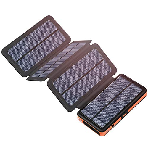 Hiluckey Caricabatterie Solare 25000mAh, Portatile Power Bank con USB & Type-C Input Impermeabile Batteria Esterna per iPhone, Table, Samsung, Laptop, Smartphone