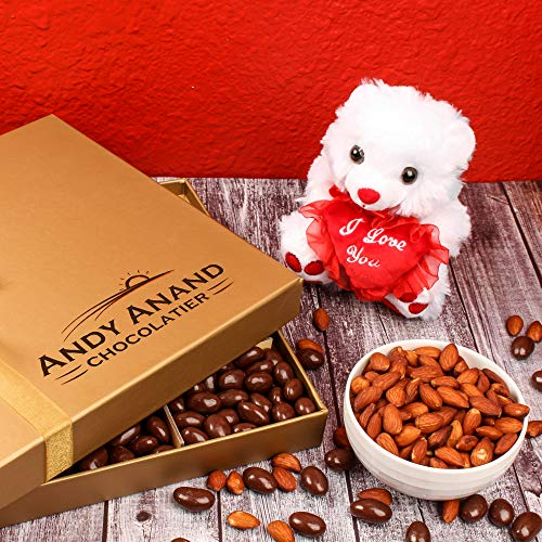 Special Gift Basket, Plush I LOVE YOU Teddy Bear with Vegan Premium Almonds covered in Rich Dark Chocolate - 1 lbs., Best Gift for Romantic Lovers Cute Perfect Personality