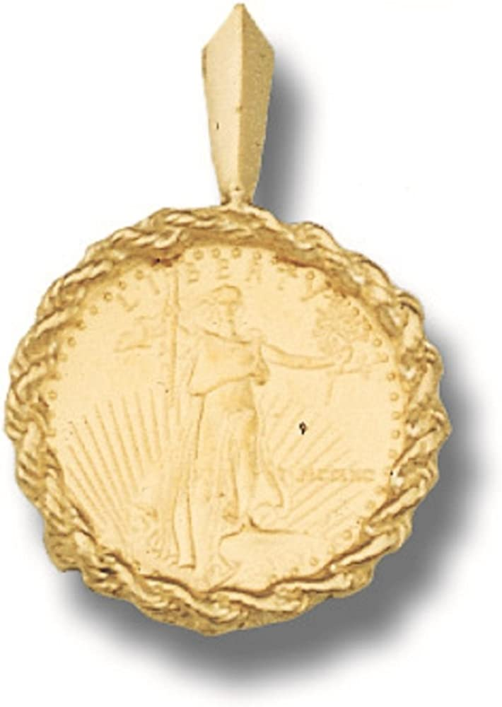 22K Fine Gold 1/10 Oz Lady Liberty Coin Set With -14K Rope Frame Pendant (5810(Random Year Coin)