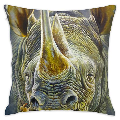 Throw Pillow Cover Rhinoceros Painting Bed Sofa Pillow Case Cushion Cover