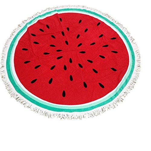 Hollwald 150cm Serviette de Plage D'Impression Circulaire Couverture de Franges du Cercle Durable Protéger L'Environnement Voyage Cadeau Pique-Nique (Pastèque)