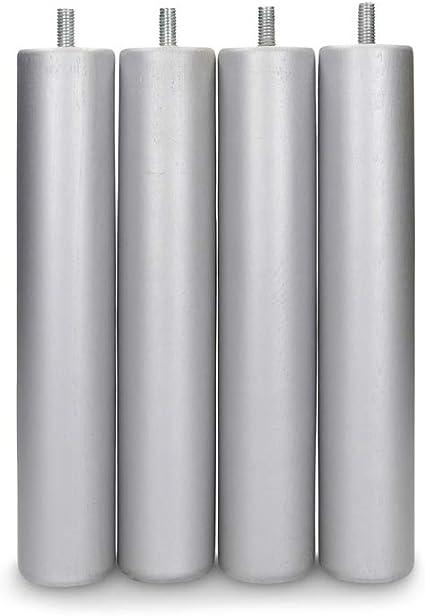 Dormidán - Patas Redondas de Madera, (6 Unidades) métrica 10 para somier o Base tapizada Color … (Plata)